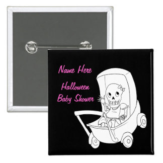 Girl Halloween Skeleton Baby Shower Pin Buttons