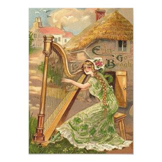 Girl Harp Rose Shamrock Erin Go Braugh 13 Cm X 18 Cm Invitation Card