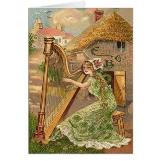 Girl Harp Rose Shamrock Erin Go Braugh Greeting Card
