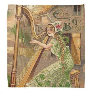 Girl Harp Rose Shamrock Erin Go Braugh Head Kerchief