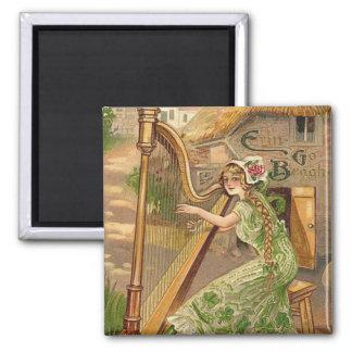 Girl Harp Rose Shamrock Erin Go Braugh Square Magnet