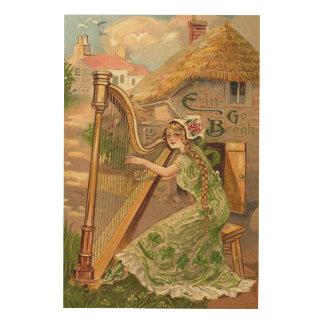 Girl Harp Rose Shamrock Erin Go Braugh Wood Canvases