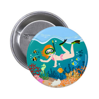 Girl having fun diving and swimming 6 cm round badge