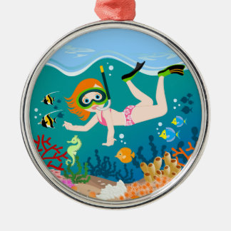 Girl having fun diving and swimming Silver-Colored round decoration