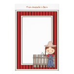 Girl & Hay Fork Barn Red Frame Kids Writing Paper Stationery Design
