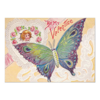 Girl Heart Rose Butterfly Valentine 13 Cm X 18 Cm Invitation Card