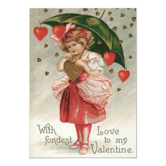 Girl Heart Umbrella Rain Shower 13 Cm X 18 Cm Invitation Card