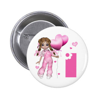 Girl Hearts 1st Birthday 6 Cm Round Badge