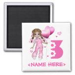 Girl Hearts 3rd Birthday Refrigerator Magnet