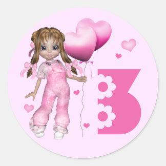 Girl Hearts 3rd Birthday Round Stickers