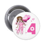 Girl Hearts 4th Birthday Pinback Buttons
