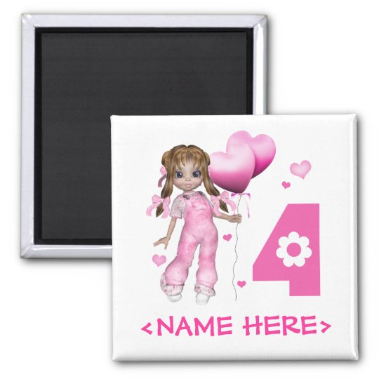 Girl Hearts 4th Birthday Square Magnet
