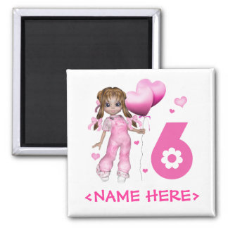 Girl Hearts 6th Birthday Magnets