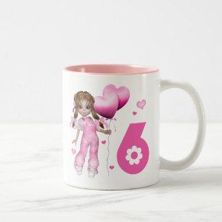 Girl Hearts 6th Birthday Two-Tone Mug
