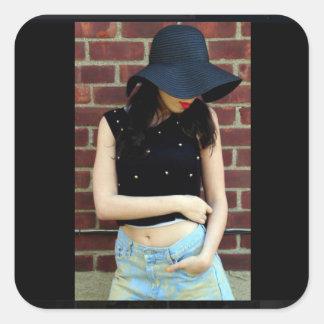 Girl Heels Sun Model Sticker Brick Wall Lips