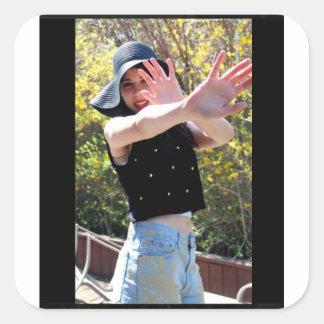 Girl Heels Sun Model Sticker Brick Wall Red Hands
