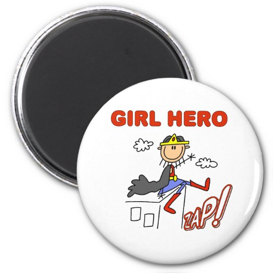 Girl Hero on Rooftop 6 Cm Round Magnet