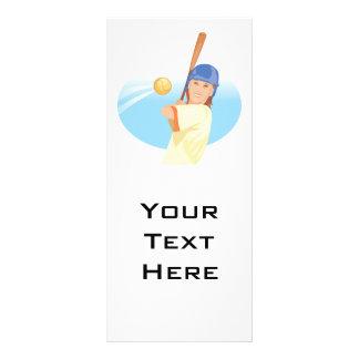 girl hitting softball vector illustration rack card template
