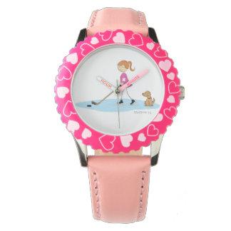Girl Hockey Cartoon Pink Watch