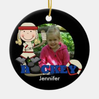 Girl Hockey Player Photo Ornament
