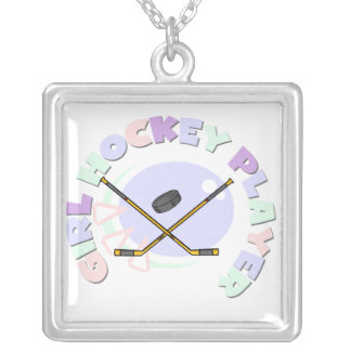 Girl Hockey Player Tshirts and Gifts Silver Plated Necklace