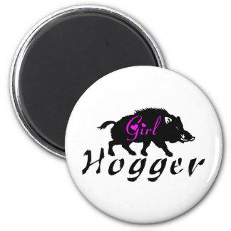GIRL HOG HUNTER 6 CM ROUND MAGNET