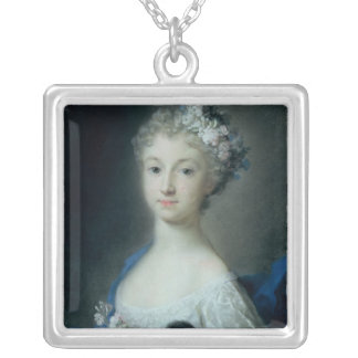 Girl holding a monkey silver plated necklace