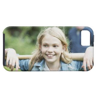 Girl holding baseball bat iPhone 5 cover