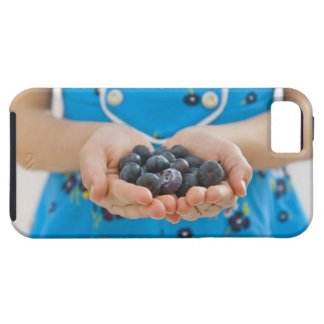 Girl holding fresh blueberries iPhone 5 cases