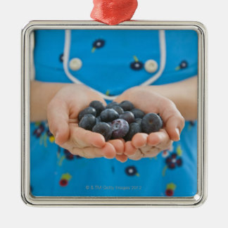 Girl holding fresh blueberries Silver-Colored square decoration