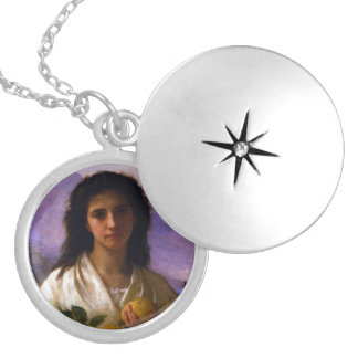 Girl Holding Lemons by William-Adolphe Bouguereau Silver Plated Necklace