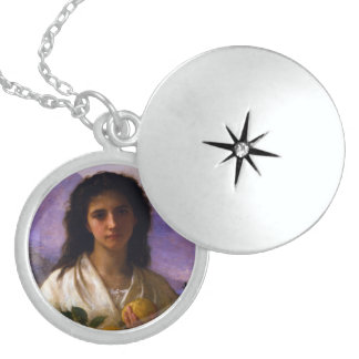 Girl Holding Lemons by William-Adolphe Bouguereau Sterling Silver Necklace