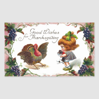 Girl Holding Puppy Vintage Thanksgiving Rectangular Sticker