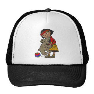 Girl Holding Teddy Bear Cap
