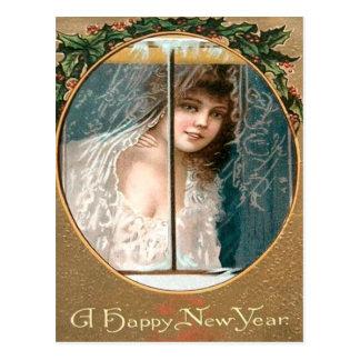 Girl Holly Window New Year Postcard