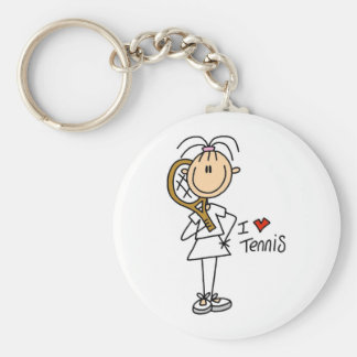 Girl I Love Tennis Basic Round Button Key Ring