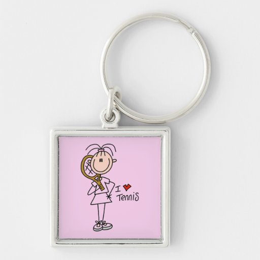 Girl I Love Tennis Tshirts and Gifts Silver-Colored Square Key Ring
