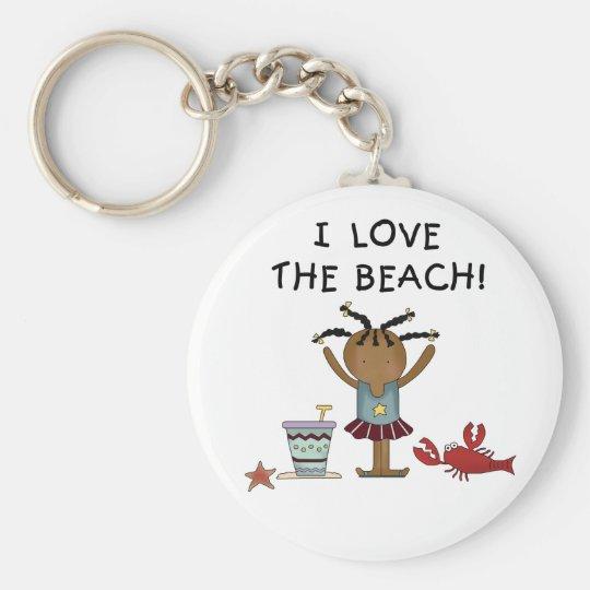 Girl I Love the Beach Basic Round Button Key Ring