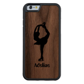 Girl Ice Skating Figure Skating Personalized Carved Walnut iPhone 6 Bumper Case