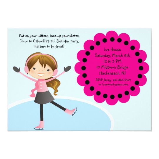 Girl Ice Skating Hot Pink Birthday Invitation