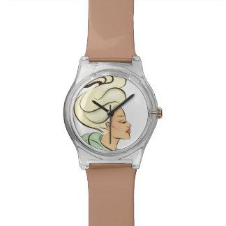 girl illustration wrist watch