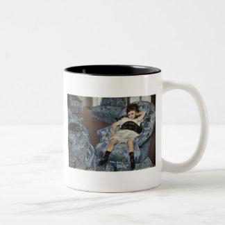 Girl in A Blue Chair, Mary Cassatt Two-Tone Mug