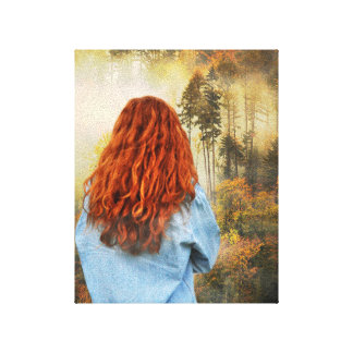 """Girl in a foggy forest 8""""x10"""" stretched canvas prints"""