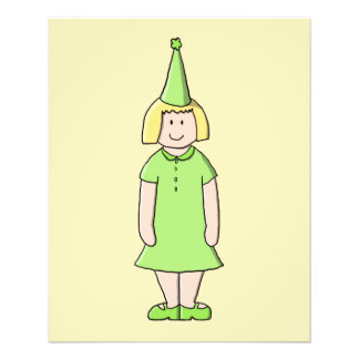 Girl in a Green Birthday Outfit. 11.5 Cm X 14 Cm Flyer