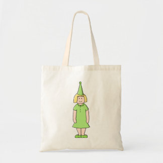 Girl in a Green Birthday Outfit. Canvas Bags