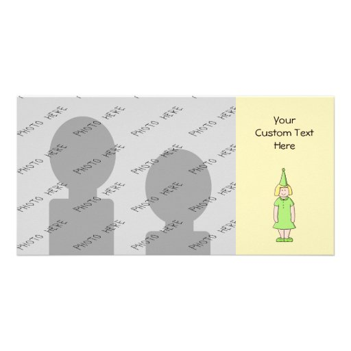 Girl in a Green Birthday Outfit. Photo Greeting Card