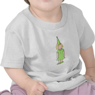 Girl in a Green Birthday Outfit. Shirt
