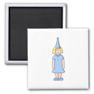 Girl in a pale blue birthday party outfit. square magnet