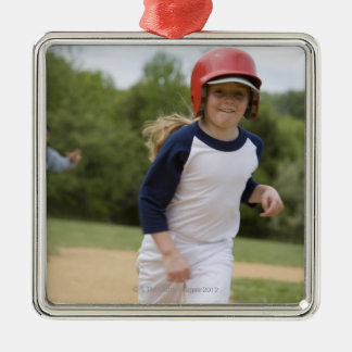 Girl in batting helmet running bases Silver-Colored square decoration