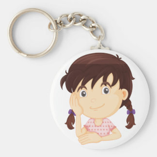 Girl in bikini basic round button key ring